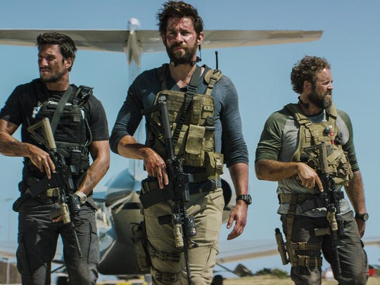 "Pablo Schreiber, from left, John Krasinski, David Denman and Dominic Fumusa star in ""13 Hours: The Secret Soldiers of Benghazi."""
