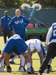 Chuck Pagano, Head Coach, during Colts daily practice,