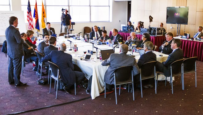 ASU President Michael Crow speaks to the Arizona Board of Regents during a meeting at Arizona State on Feb. 4, 2016.
