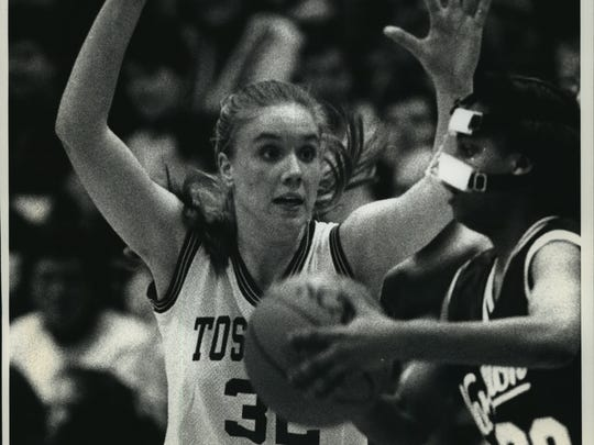 Tosa East's Melissa Maas battles against Milwaukee Washington during a game in 1993. She was our All-Suburban Player of the Year in 1992 and 1993.