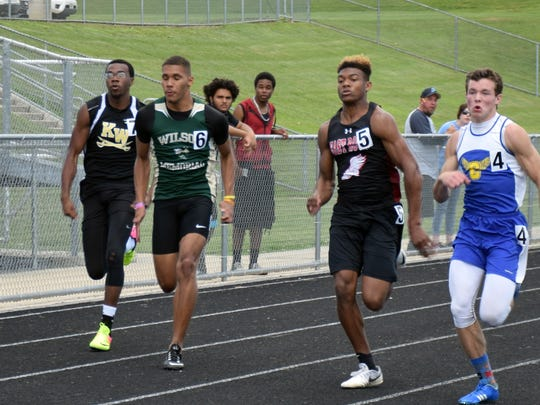 Wilson Memorial's Gregory Woodard, center, competes in a preliminary heat for the the boys 100-meter dash at the VHSL Region 2A East track championships on Friday, May 26, 2017, at East Rockingham High School in Elkton, Va.