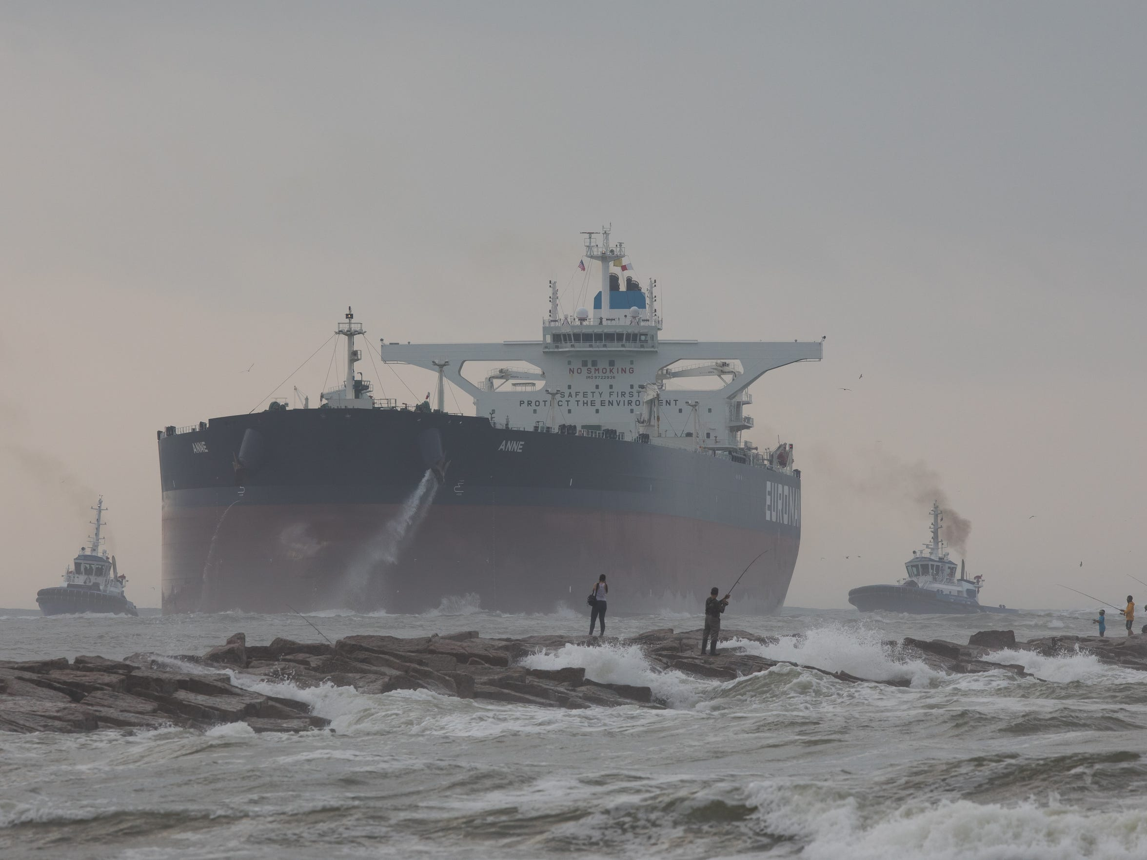 The largest tanker to dock in a Gulf of Mexico port travels threw the Port of Corpus Christi shipping channel in Port Aransas on Friday, May 26, 2017.