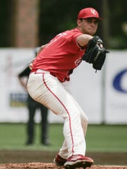 UL lefty Gunner Leger, shown here in a 2016 NCAA Regional win over Arizona, is redshirting this season for medical reasons.
