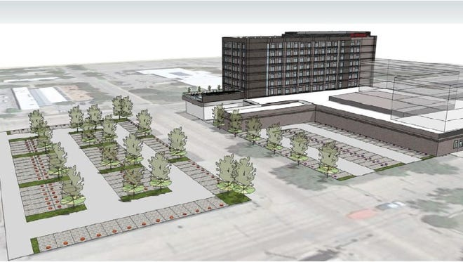 Planning drawing of a potential downtown Abilene hotel across from the Abilene Convention Center.