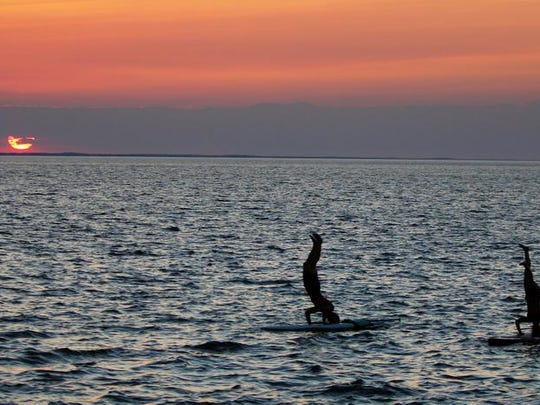 A paddleboard dolphin hunt with Delmarva Board Sport Adventures at Cape Henlopen State Park.