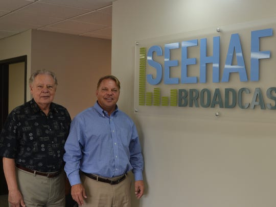 Don Seehafer, left, sold his local radio company, Seehafer