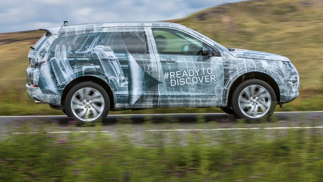 Land Rover put an image of the second and third rows of seats on the sides of its new Discovery to show how it will be configured
