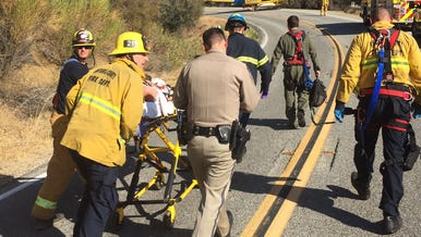 A motorcyclist was taken to a hospital by helicopter Friday afternoon after a crash on Maricopa Highway north of Wheeler Gorge.