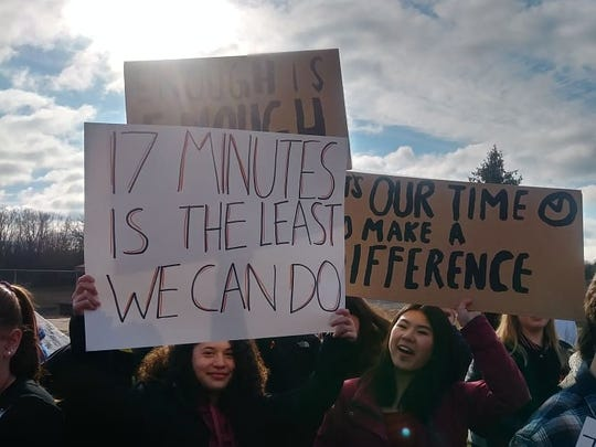 Fifty Marshall High School students participated in Wednesday's National Walkout Day.
