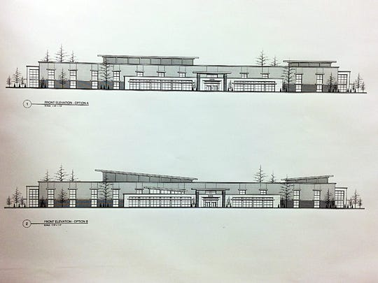 The two front exterior design options for the proposed Burns middle-high school presented last week.