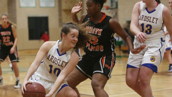 White Plains and Ardsley in girls basketball action during the 38th annual Warnock Family Tournament at Irvington High School Dec. 1, 2016. White Plains won the game.
