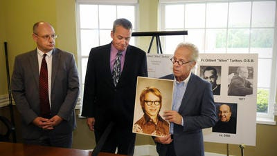 Troy Bramlage spoke at a news conference in June 2013 announcing his lawsuit against St. John's Abbey and the Rev. Allan Tarlton. That lawsuit led to the release Tuesday of several monks files from the Abbey.