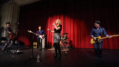 The band Big Radio perform during Media Day at Morristown High School for finalists of the 10th Anniversary show of Morristown Onstage to be held at the Mayo Performing Arts Center. January 7, 2017, Morristown, NJ.