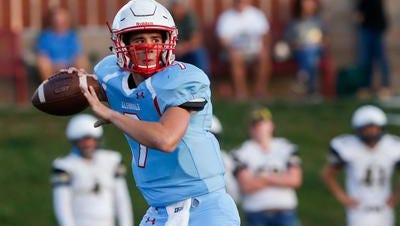 Glendale's Alex Huston, shown during his team's Sept. 8 game against Lebanon, went 70 for 88 with 824 passing yards in Friday night's 69-58 win over Parkview.