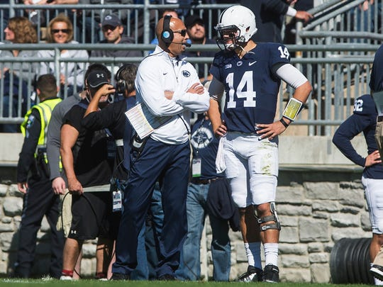 Penn State head coach James Franklin speaks with quarterback Christian Hackenberg on Saturday Oct. 10, 2015 during Penn State's game against Indiana.   Shane Dunlap - For The York Daily Record/Sunday News