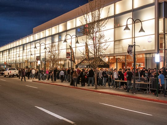 Patrons wait in line for Tool outside the Reno Events Center Sunday, March 9, 2014.