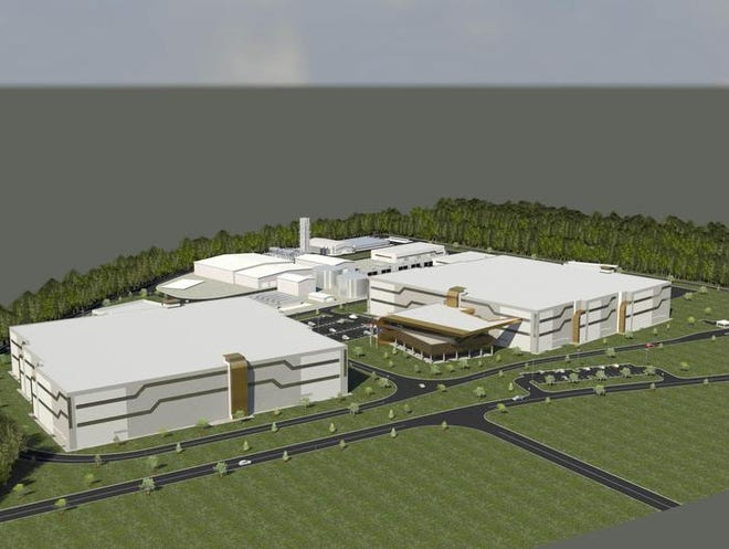 An artist's rendering shows the proposed Wolf Technology Center, with the two modules of the data center in the foreground and the power plant in the background.