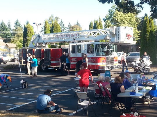 The fire truck arrives at Silverton National Night Out.