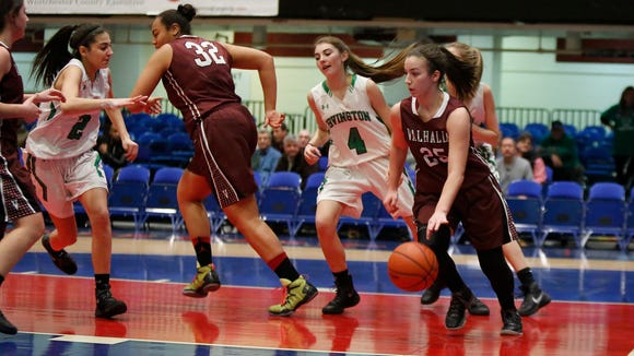 Irvington defeats Valhalla 44-35 in the Class B semi-final basketball game at the County Center in White Plains on Friday, February 26, 2016.
