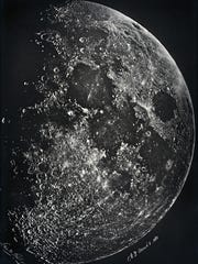 """New York-based amateur scientist Lewis M. Rutherfurd made spectroscopic images of the moon using the wet collodion process and a specially corrected 290 mm photographic lens. His """"Moon in First Quarter,"""" 1865, is a carbon print on letter mount, printed later by Lemercier et Cie., France."""