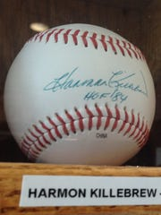 A Harmon Killebrew autographed baseball in Max Schumacher's collection at Victory Field.