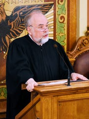 Chief Justice David Gilbertson of the South Dakota Supreme Court gives the 2018 State of the Judiciary Address on Wednesday, Jan. 10, 2017.