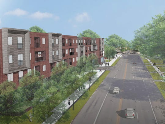 This rendering presents a bird's-eye view of the proposed Link at Kessler apartment complex, looking north on College Avenue.