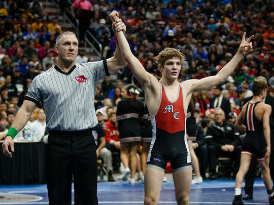 Cullan Schriever of Mason City celebrates after defeating Drake Ayala of Fort Dodge during their class 3A 106 pound championship match at Wells Fargo Arena on Saturday, Feb. 17, 2018, in Des Moines.