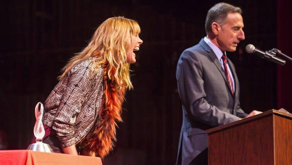 Grace Potter laughs as she is introduced by Gov. Peter