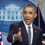 President Barack Obama speaks to student journalists in the James Brady Press Briefing Room of the White House April 28.