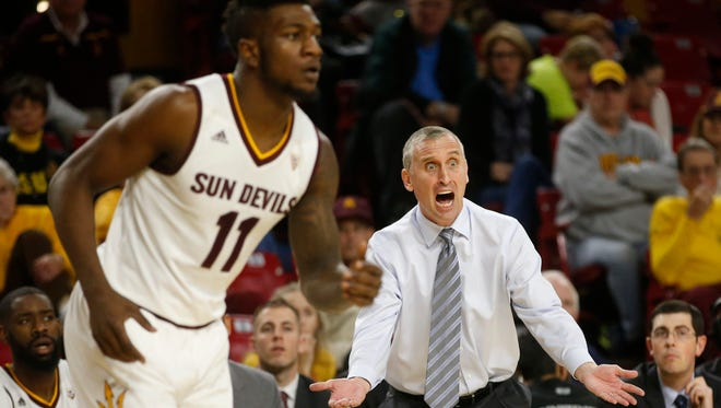 Arizona State coach Bobby Hurley wants a foul called during a Pac-12 game against Washington at Wells Fargo Arena in Tempe on January 16, 2016.