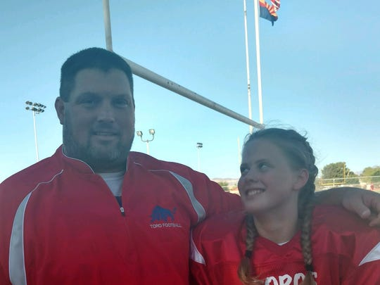 Mesa Mountain View freshman football coach Crys Hollen