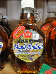 Maple syrup is on display at Maple Hollow store in Merrill.