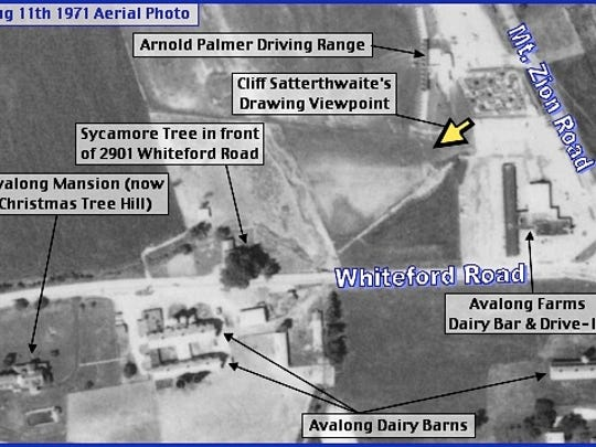 August 11th, 1971 Aerial Photo of Avalong Dairy area of Springettsbury Township (Penn Pilot Historic Aerial Photos; Annotations by S. H. Smith, 2015)