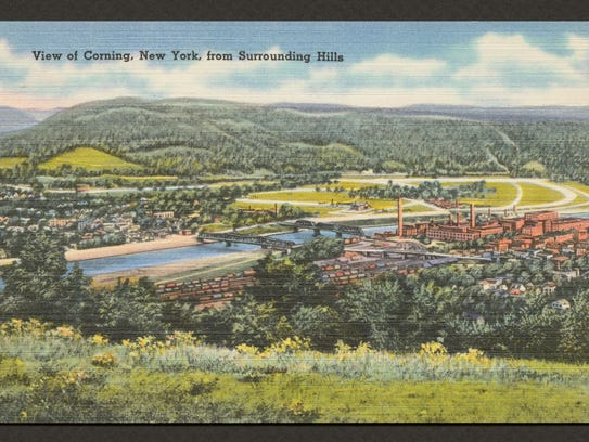 Postcard, View of Corning New York from Surrounding