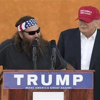 """""""Duck Dynasty"""" star Willie Robertson appeared on stage with Republican presidential candidate Donald Trump during a campaign rally at the Oklahoma State Fair Friday."""