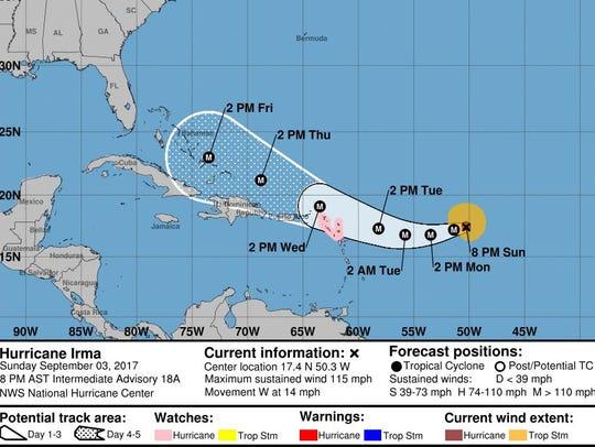 Irma's forecast track as of 8 p.m. Sunday.