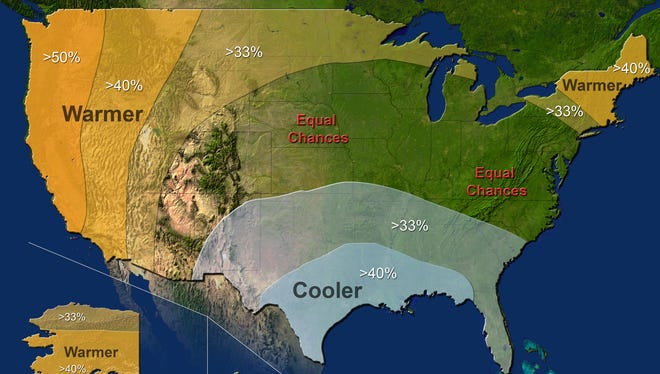The greatest likelihood of warmer-than-average temperatures (in orange) are in the West, New England and Alaska. The highest chances for cooler-than-average temperatures are in the South, seen in blue.