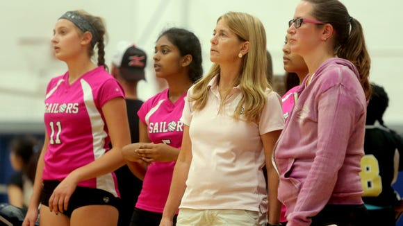 Hendrick Hudson volleyball coach Diane Swertfager,