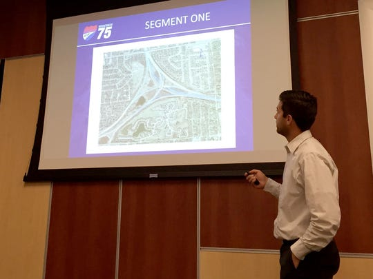 Alan Ostrowski, construction engineer and project manager for the first segment of the I-75 reconstruction and widening project, discusses work planned by the Michigan Department of Transportation for the Square Lake Road interchange. Ostrowski was speaking during a media roundtable on the project Thursday, August 11, 2016 in Detroit.