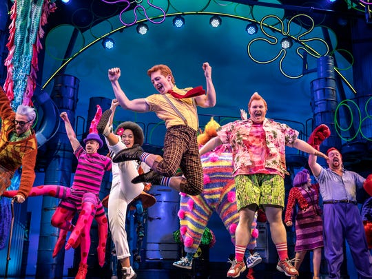 """Check out scenes from Broadway's hottest shows of 2017-2018. Ethan Slater and the cast of """"SpongeBob SquarePants."""""""