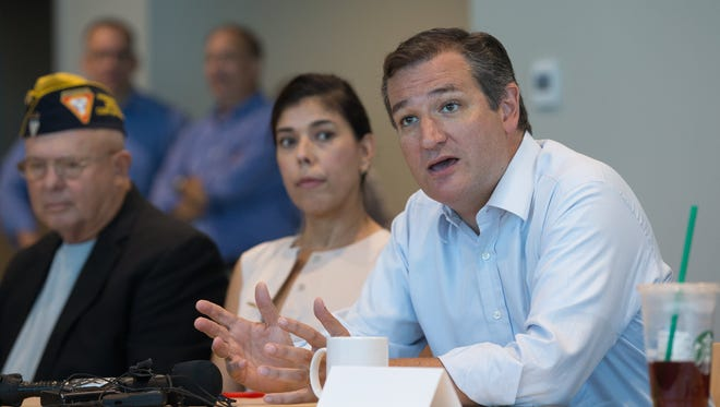 COURTNEY SACCO/CALLER-TIMESU.S. Sen. Ted Cruz, R- Texas speaks during a round table with veterans at the Corpus Christi Regional Transit Authority headquarters, Thursday, Aug. 25, 2016.