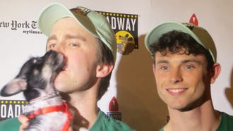 Gavin Creel and Charlie Stemp at the 20th annual Broadway Barks, July 14, 2018, at Shubert Alley in Manhattan.