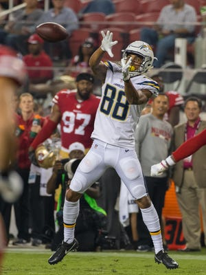 Los Angeles Chargers receiver Andre Patton, who played at St. Elizabeth, makes a reception against the San Francisco 49ers in a preseason game on Aug. 31.