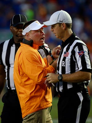 Tennessee Volunteers head coach Butch Jones reacts to the referees during the second half against the Florida Gators at Ben Hill Griffin Stadium. Florida Gators defeated the Tennessee Volunteers 28-27.