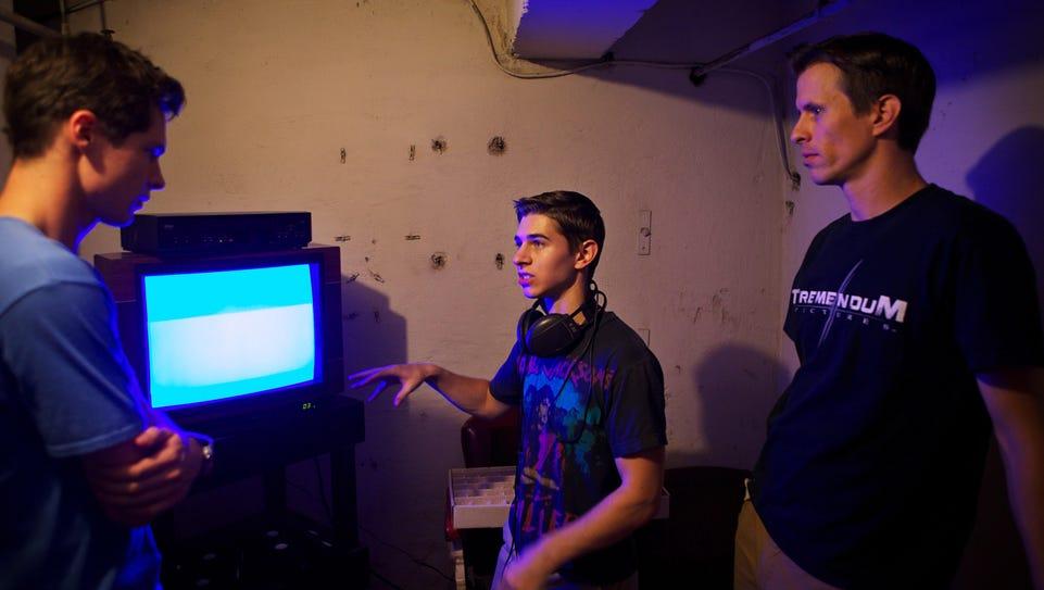 Co-directors Chris Lofing and Travis Cluff on the set
