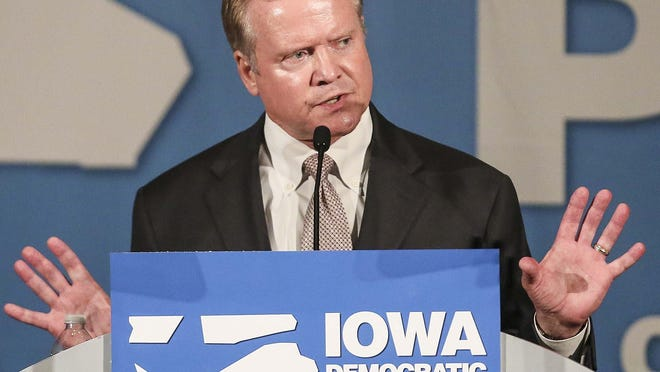 Former Virginia U.S. Sen. Jim Webb speaks at the Iowa Democratic Party's Hall of Fame Celebration at the Cedar Rapids Convention Center in July.