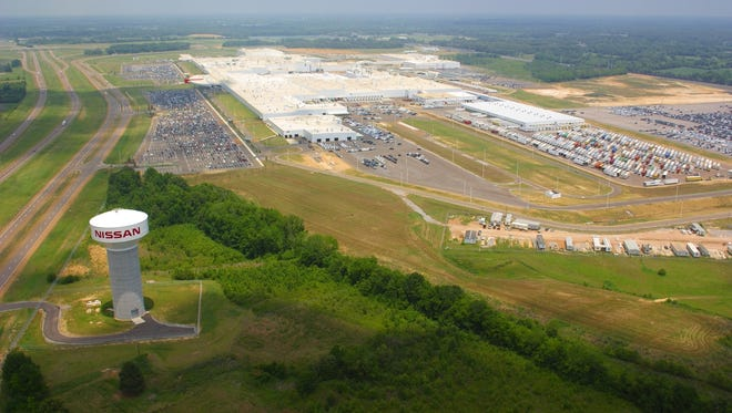 An aerial view of the Nissan plant in Canton.