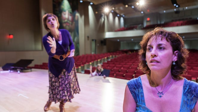 Denise Summerford, Molly Renfroe Katz, and Lisa Sabin rehearse for Half Moon Theatre's upcoming production The World Goes Round, a musical revue of Kander and Ebb's greatest hits, at the CIA's Marriott Pavilion in Hyde Park.