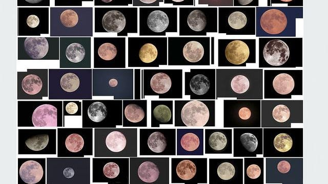 Penelope Umbrico uses images of the full moon sourced from Flickr for her creations.